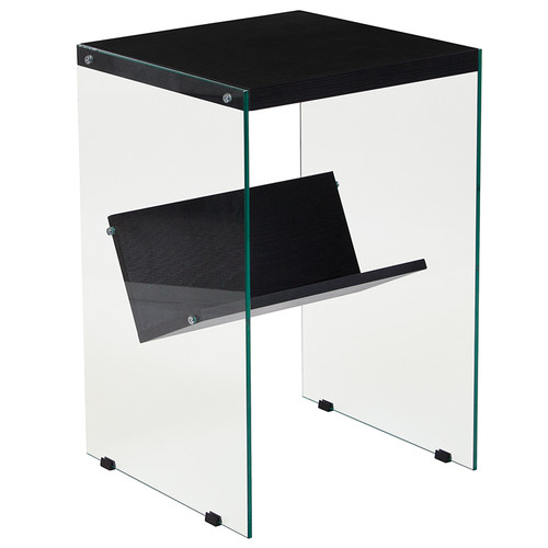 Flash Furniture | Highwood Collection Dark Ash Finish End Table with Shelves and Glass Frame