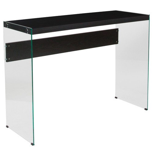 Flash Furniture | Highwood Collection Dark Ash Finish Console Table with Shelves and Glass Frame