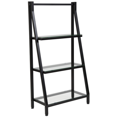"Flash Furniture | Highland Collection 3 Shelf 45.5""H Glass Bookcase with Black Metal Frame"