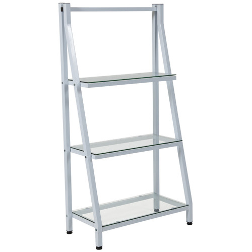 "Flash Furniture | Winfield Collection 3 Shelf 45.5""H Glass Bookcase with White Metal Frame"