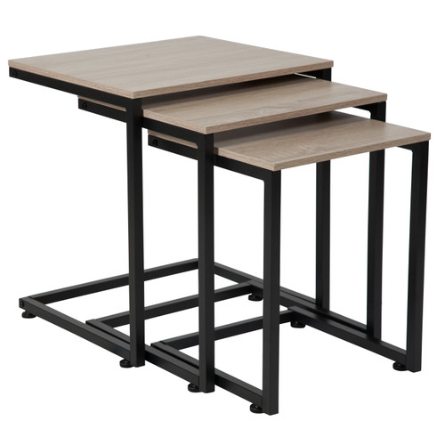 Flash Furniture | Midtown Collection Sonoma Oak Wood Grain Finish Nesting Tables with Black Metal Cantilever Base