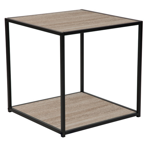 Flash Furniture | Midtown Collection Sonoma Oak Wood Grain Finish End Table with Black Metal Frame