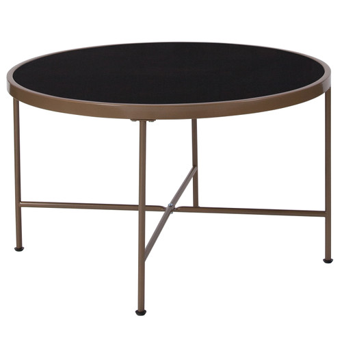 Flash Furniture | Chelsea Collection Black Glass Coffee Table with Matte Gold Frame