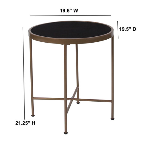 Flash Furniture | Chelsea Collection Black Glass End Table with Matte Gold Frame