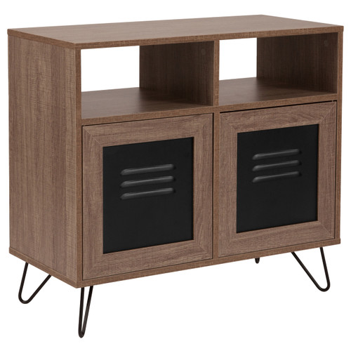 "Flash Furniture | Woodridge Collection 29.75""W 2 Shelf Storage Console/Cabinet with Metal Doors in Rustic Wood Grain Finish"