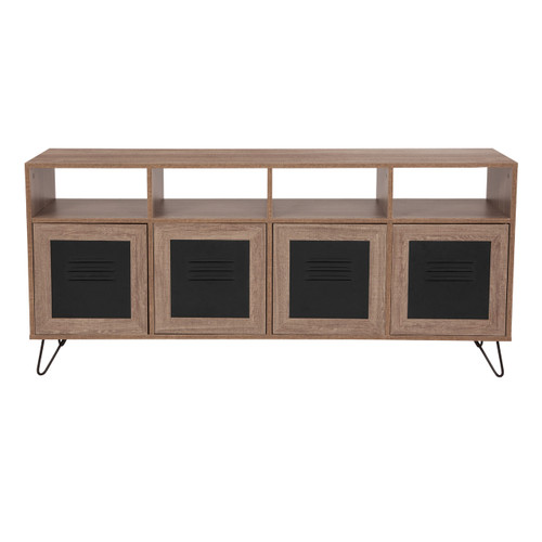 "Flash Furniture | Woodridge Collection 85.5""W 4 Shelf Storage Console/Cabinet with Metal Doors in Rustic Wood Grain Finish"