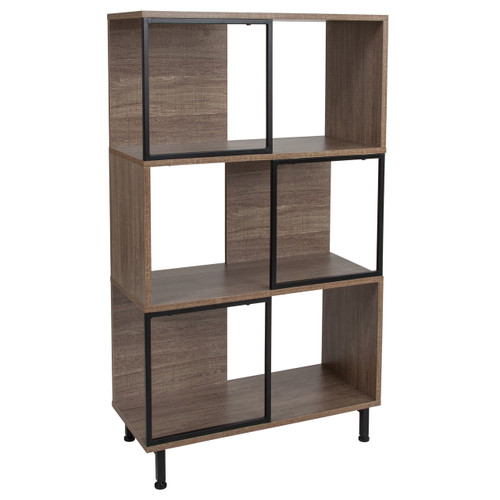 """Flash Furniture   Paterson Collection 3 Shelf 26""""W x 45.25""""H Bookcase and Storage Cube in Rustic Wood Grain Finish"""