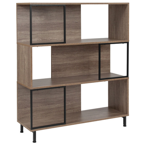 "Flash Furniture | Paterson Collection 3 Shelf 39.5""W x 45""H Bookcase and Storage Cube in Rustic Wood Grain Finish"