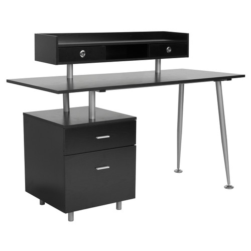 Flash Furniture | Piedmont Home and Office Desk with 2 Drawers and Top Storage Shelf in Dark Ash Finish
