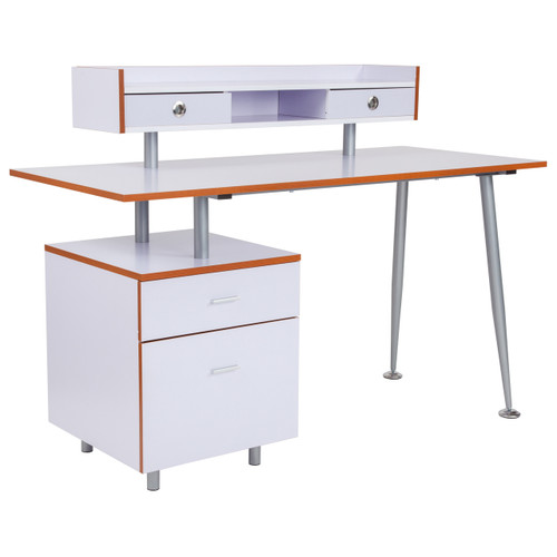 Flash Furniture | Piedmont Home and Office Desk with 2 Drawers and Top Storage Shelf in White Finish