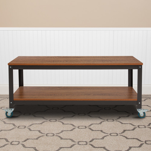 Flash Furniture | Livingston Collection TV Stand in Brown Oak Wood Grain Finish with Metal Wheels