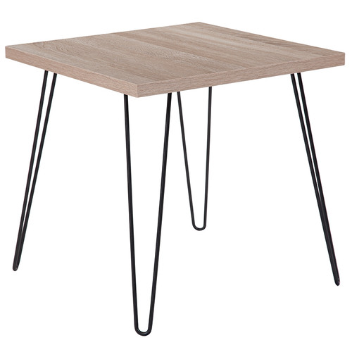 Flash Furniture | Union Square Collection Sonoma Oak Wood Grain Finish End Table with Black Metal Legs