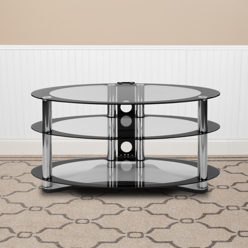 Flash Furniture | Westchester Two-Tone Glass TV Stand with Shelves and Chrome Tubing