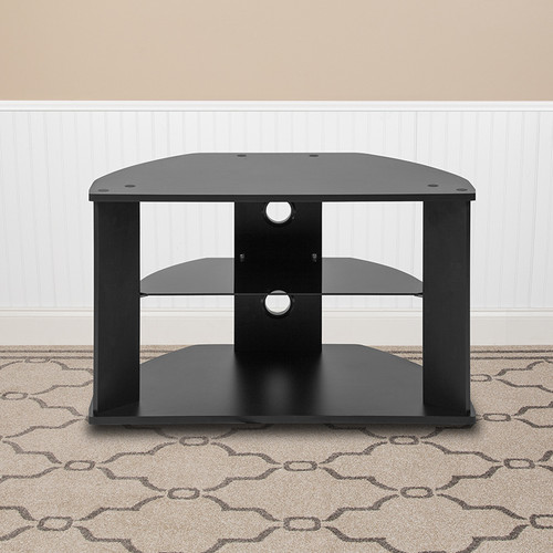 Flash Furniture | Northfield Black Finish TV Stand with Glass Shelves