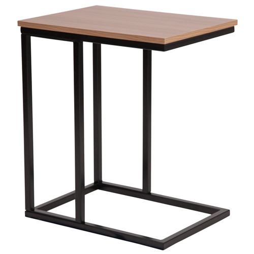 Flash Furniture | Aurora Rustic Wood Grain Finish Side Table with Black Metal Cantilever Base