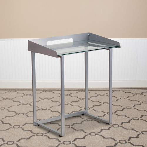 Flash Furniture | Contemporary Clear Tempered Glass Desk with Raised Cable Management Border and Silver Metal Frame