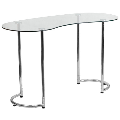 Flash Furniture | Contemporary Desk with Curvaceous Clear Tempered Glass