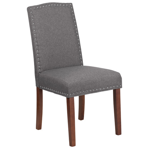 Flash Furniture | HERCULES Hampton Hill Series Gray Fabric Parsons Chair with Silver Accent Nail Trim