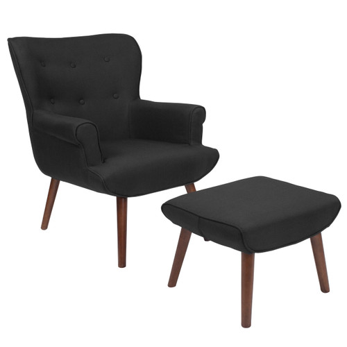 Flash Furniture | Bayton Upholstered Wingback Chair with Ottoman in Black Fabric