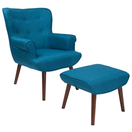 Flash Furniture | Bayton Upholstered Wingback Chair with Ottoman in Blue Fabric