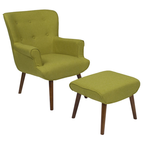 Flash Furniture | Bayton Upholstered Wingback Chair with Ottoman in Green Fabric