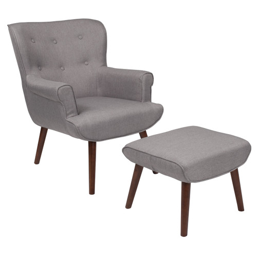 Flash Furniture | Bayton Upholstered Wingback Chair with Ottoman in Light Gray Fabric