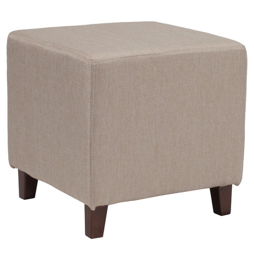 Flash Furniture | Ascalon Upholstered Ottoman Pouf in Beige Fabric