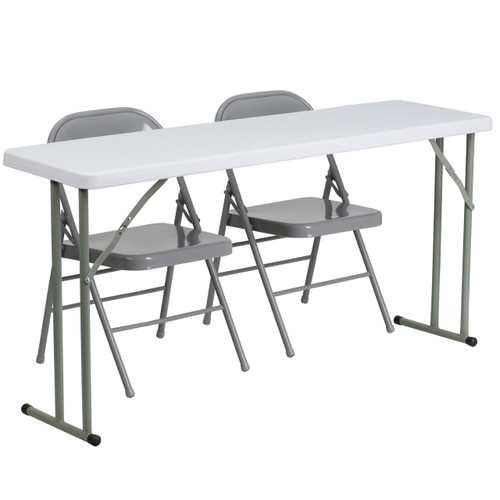 Flash Furniture | 18'' x 60'' Plastic Folding Training Table Set with 2 Gray Metal Folding Chairs