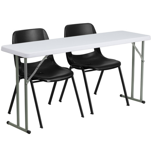 Flash Furniture | 18'' x 60'' Plastic Folding Training Table Set with 2 Black Plastic Stack Chairs