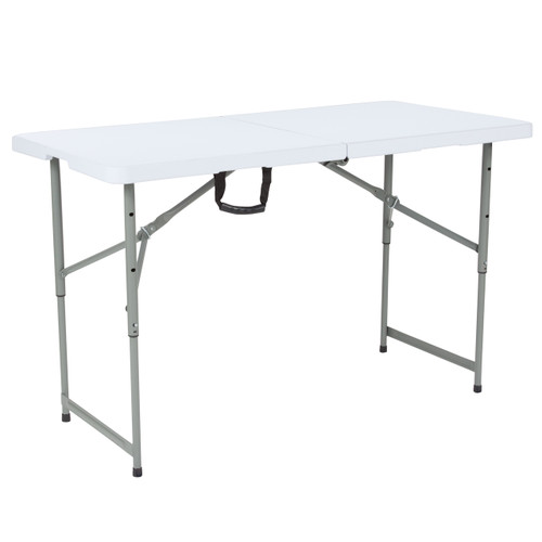 "Flash Furniture | 24""W x 48""L Height Adjustable Bi-Fold Granite White Plastic Folding Table"