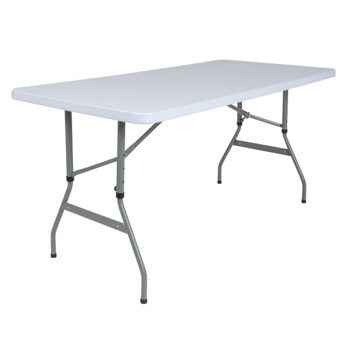 Flash Furniture | 30''W x 60''L Height Adjustable Granite White Plastic Folding Table