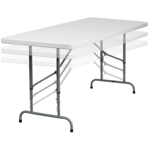 Flash Furniture | 30''W x 72''L Height Adjustable Granite White Plastic Folding Table