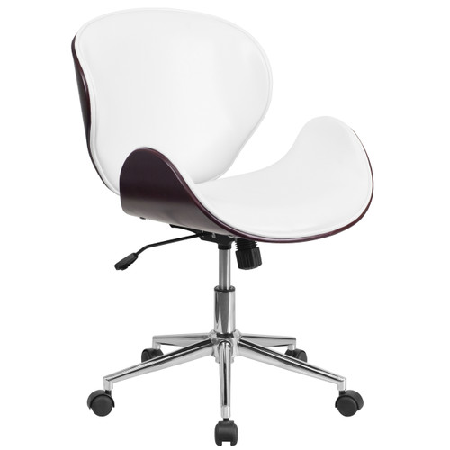 Flash Furniture | Mid-Back Mahogany Wood Conference Office Chair in White Leather