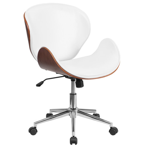 Flash Furniture | Mid-Back Walnut Wood Conference Office Chair in White Leather
