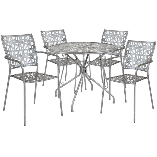 "Flash Furniture | Agostina Series 35.25"" Round Antique Silver Indoor-Outdoor Steel Patio Table with 4 Stack Chairs"