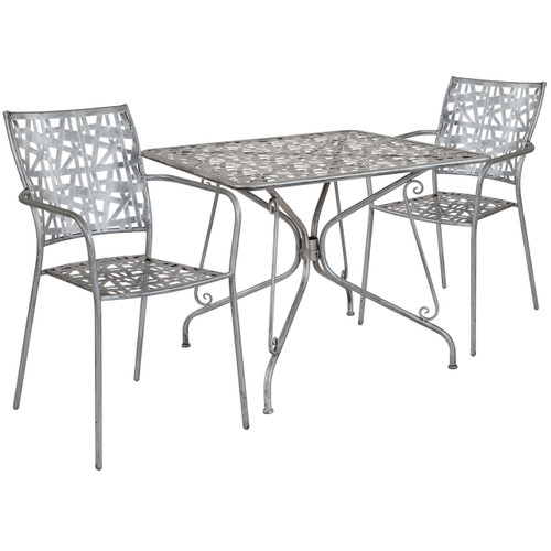 "Flash Furniture | Agostina Series 35.25"" Square Antique Silver Indoor-Outdoor Steel Patio Table with 2 Stack Chairs"
