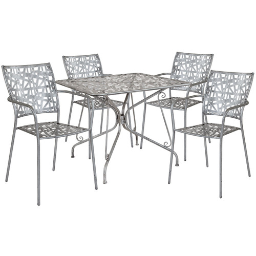 "Flash Furniture | Agostina Series 35.25"" Square Antique Silver Indoor-Outdoor Steel Patio Table with 4 Stack Chairs"