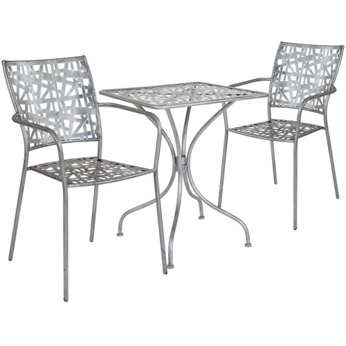 "Flash Furniture | Agostina Series 23.5"" Square Antique Silver Indoor-Outdoor Steel Patio Table with 2 Stack Chairs"