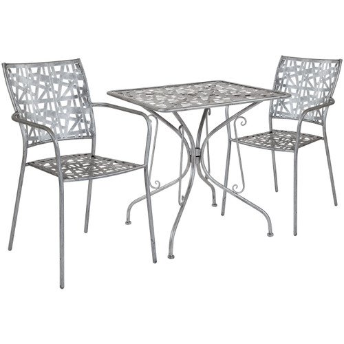 "Flash Furniture | Agostina Series 27.5"" Square Antique Silver Indoor-Outdoor Steel Patio Table with 2 Stack Chairs"