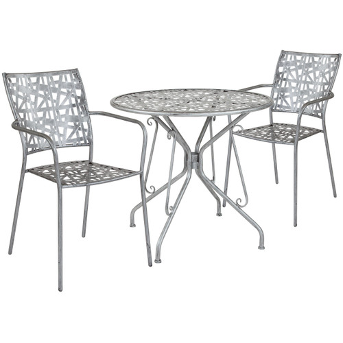 "Flash Furniture | Agostina Series 31.5"" Round Antique Silver Indoor-Outdoor Steel Patio Table with 2 Stack Chairs"