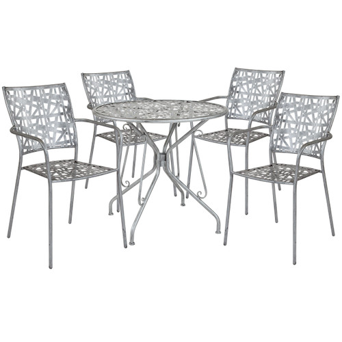 "Flash Furniture | Agostina Series 31.5"" Round Antique Silver Indoor-Outdoor Steel Patio Table with 4 Stack Chairs"