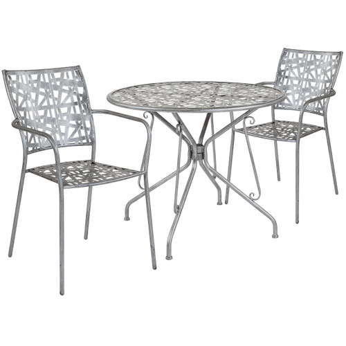 "Flash Furniture | Agostina Series 35.25"" Round Antique Silver Indoor-Outdoor Steel Patio Table with 2 Stack Chairs"