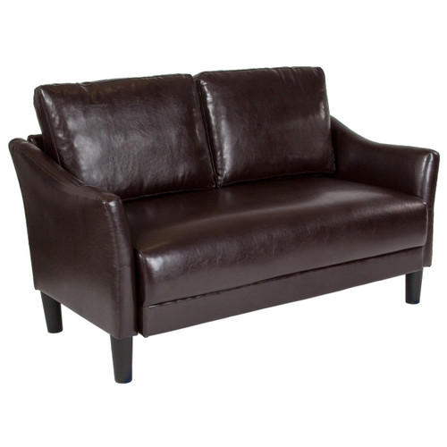 Flash Furniture   Asti Upholstered Loveseat in Brown Leather