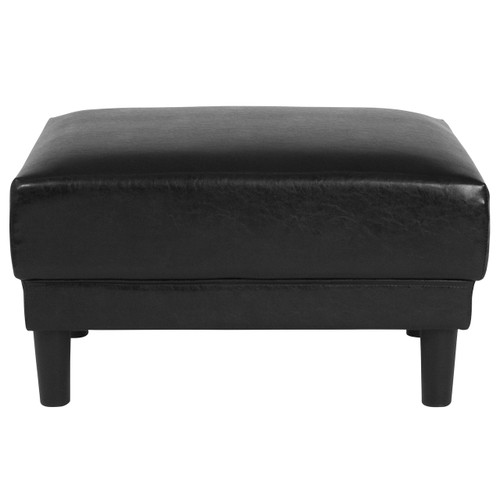 Flash Furniture | Asti Upholstered Ottoman in Black Leather