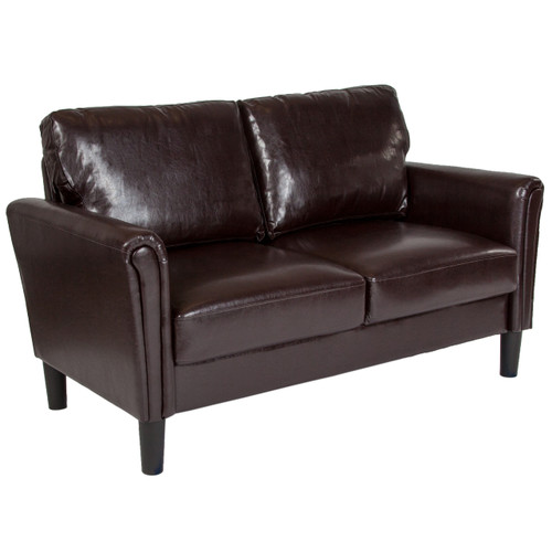 Flash Furniture   Bari Upholstered Loveseat in Brown Leather