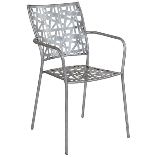 Flash Furniture | Agostina Series Antique Silver Indoor-Outdoor Steel Patio Stack Chair