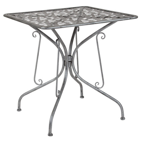 "Flash Furniture | Agostina Series 27.5"" Square Antique Silver Indoor-Outdoor Steel Patio Table"