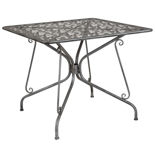 "Flash Furniture | Agostina Series 35.25"" Square Antique Silver Indoor-Outdoor Steel Patio Table"