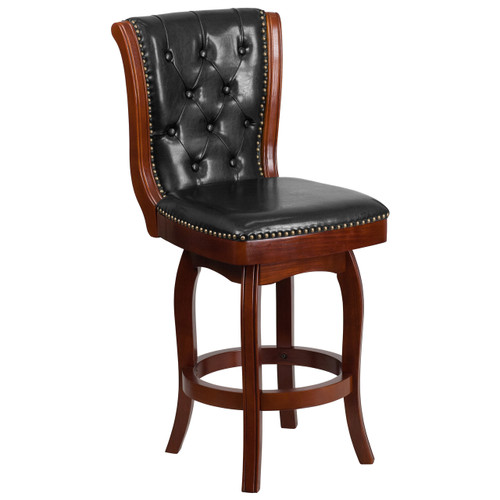 Flash Furniture TA-411026-LC-GG 26 High Backless Light Cherry Wood Counter Height Stool with Black Leather Seat