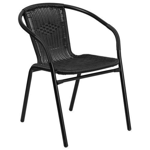 Flash Furniture | Black Rattan Indoor-Outdoor Restaurant Stack Chair